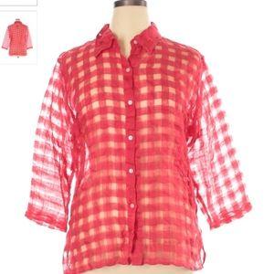 Coldwater Creek Vtg Cherry Red Sheer Blouse Sz XL